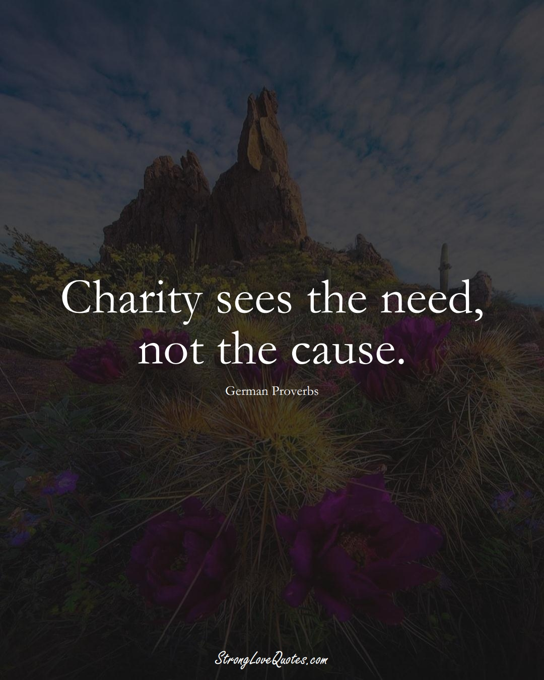 Charity sees the need, not the cause. (German Sayings);  #EuropeanSayings