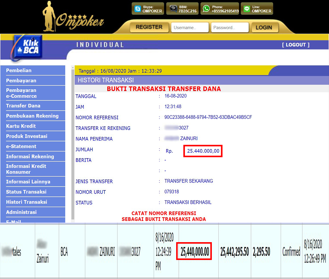 Selamat Kepada Member Setia Ompoker WD Rp 25.440.000,-