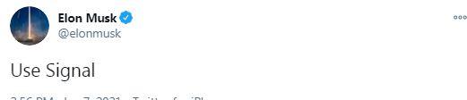 تغريدة ايلون ماسك عن برنامج سيجنال