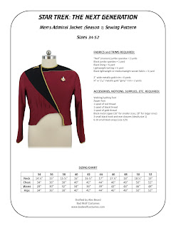 Star Trek TNG Men's Season 1 Admiral Jacket Pattern