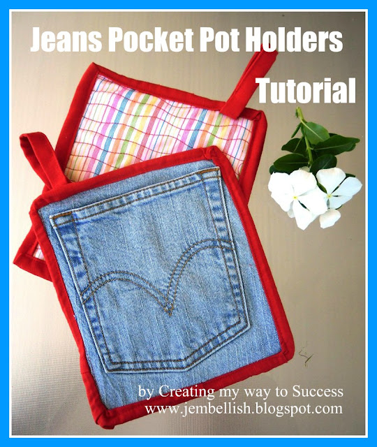 Pot Holders from Jeans Pockets