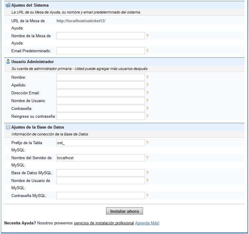 formulario de osticket para instalacion