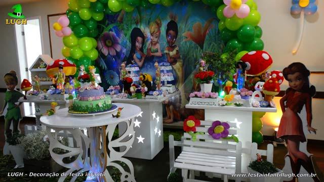 Decoração da mesa do bolo de aniversário infantil Tinker Bell - Tema Sininho para festa feminina