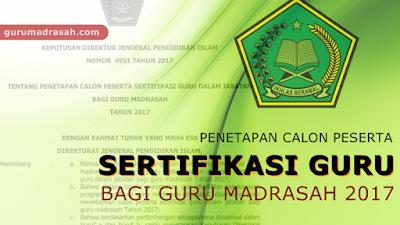 Penetapan Peserta Calon Sertifikasi Guru Madrasah Dalam Jabatan Tahun 2017
