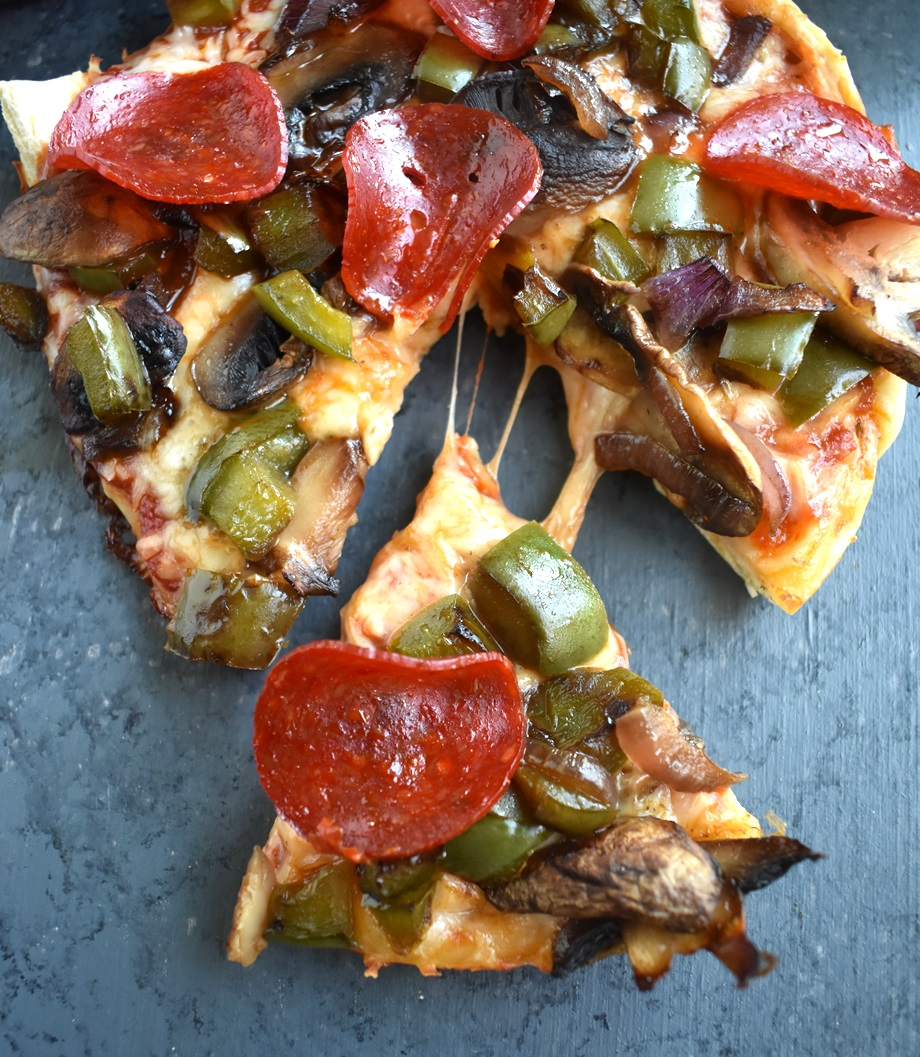 Slice of healthier deep dish pizza