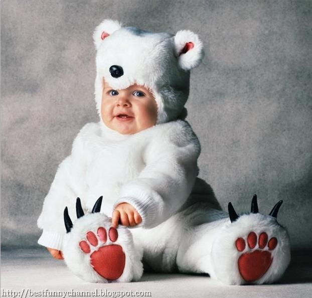 Baby white teddy bear.