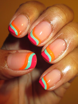 Color Club, Poptastic, Jackie OH!, Koo-Koo CaChoo, Edie, wavy, frenchie, funcky french, pink, orange, turqoise, April, Trip Polish Challenge, nails, nail art, nail design, mani