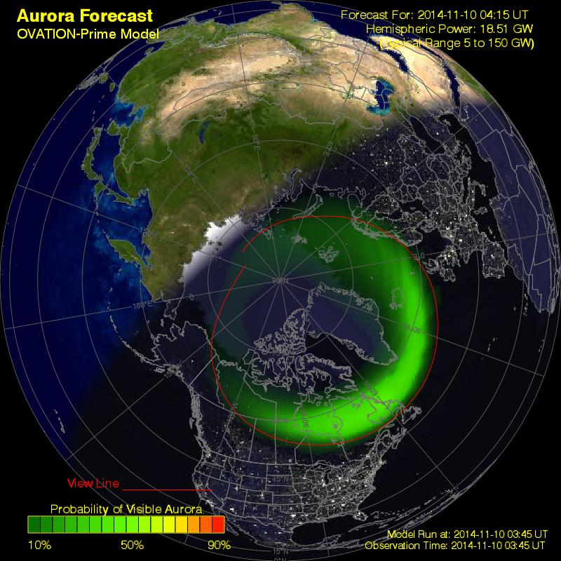 aurora forecast northern hemisphere - TORMENTA GEOMAGNETICA MODERADA