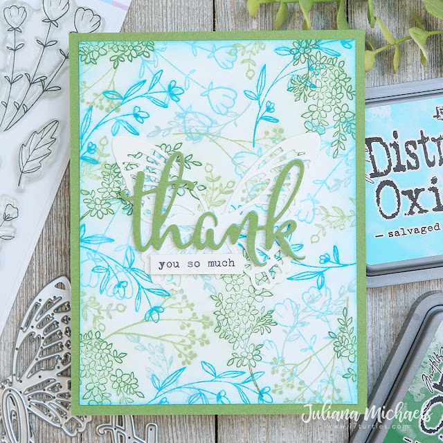Thank You Card by Juliana Michaels featuring Scrapbook.com Spring Sprigs Stamp Set