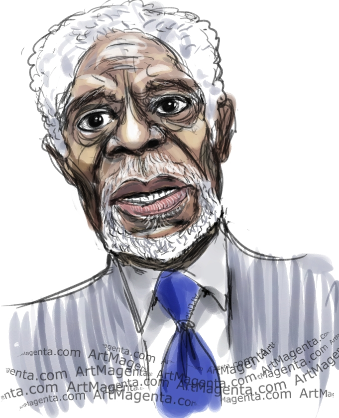 Kofi Annan caricature cartoon. Portrait drawing by caricaturist Artmagenta