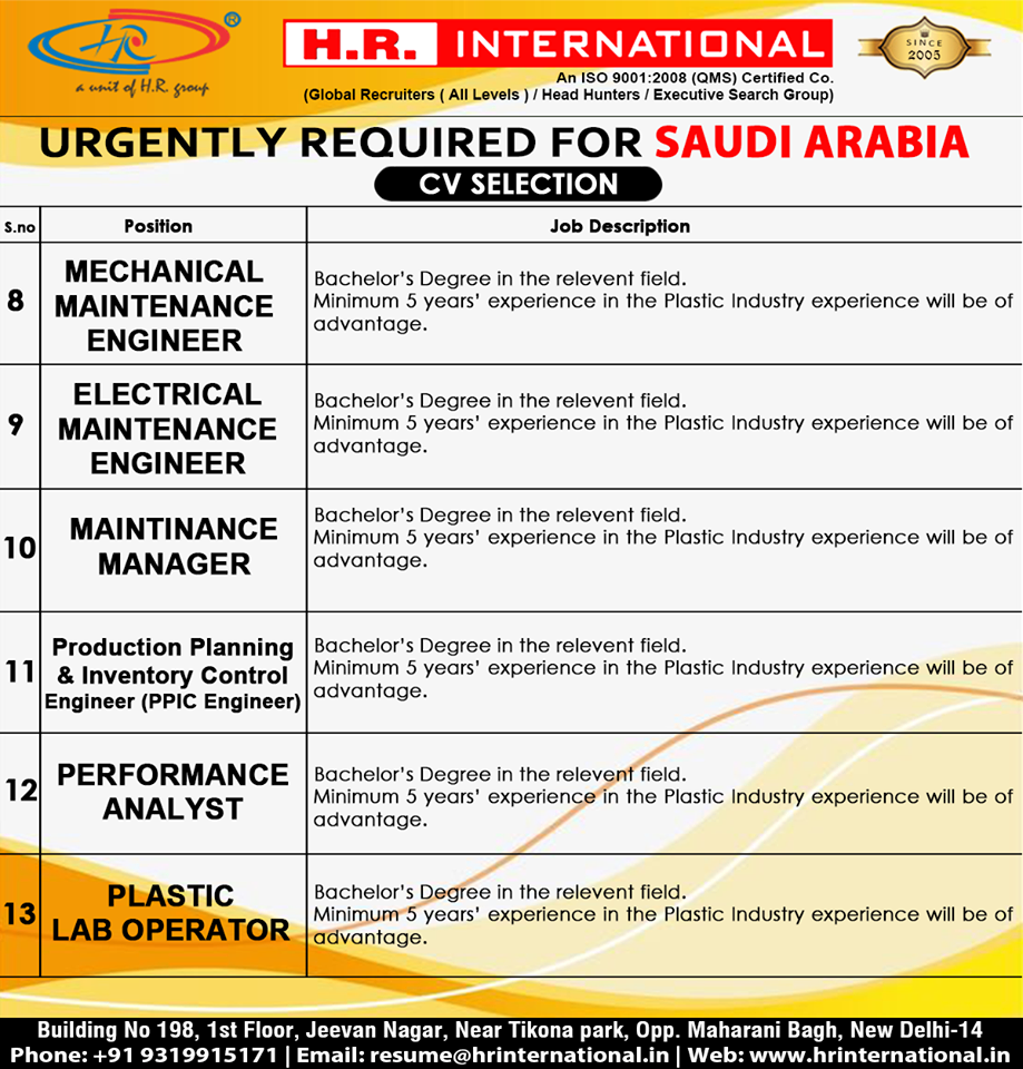 Urgently Required For Saudi Arabia Free Hiring For Plastic