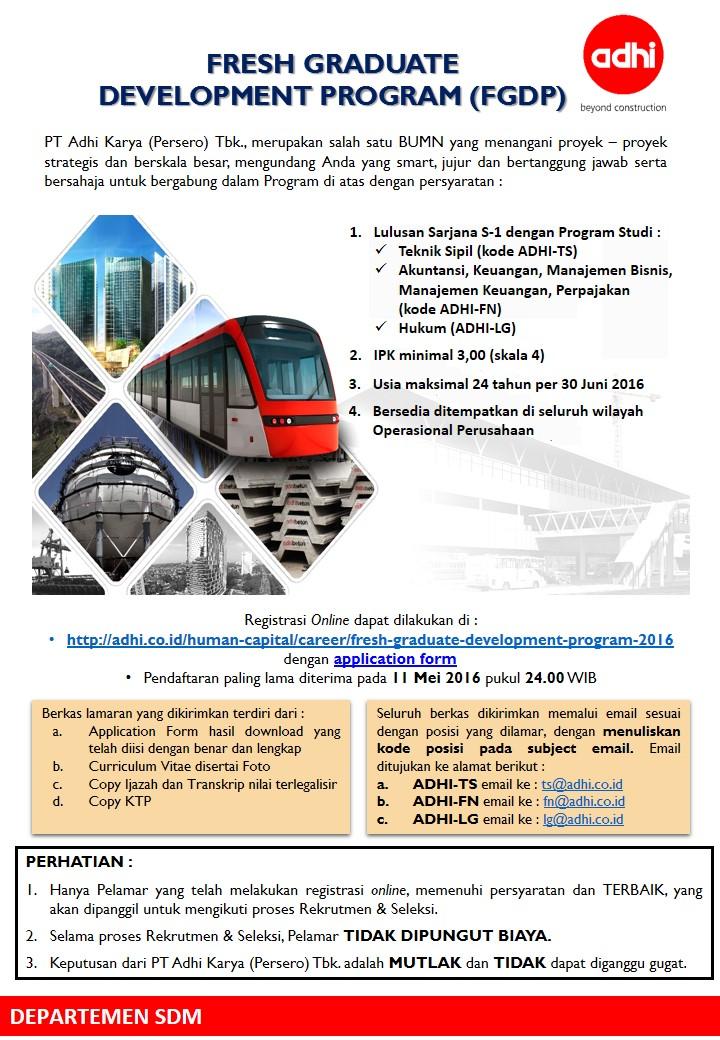Penerimaan Pegawai PT Adhi Karya (Persero) Tbk Fresh Graduate Development Program 2016