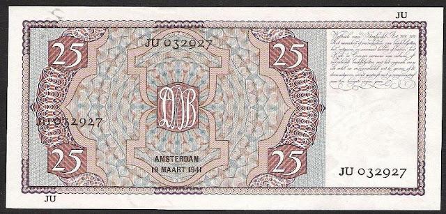Netherlands currency Dutch guilder 25 Gulden banknote