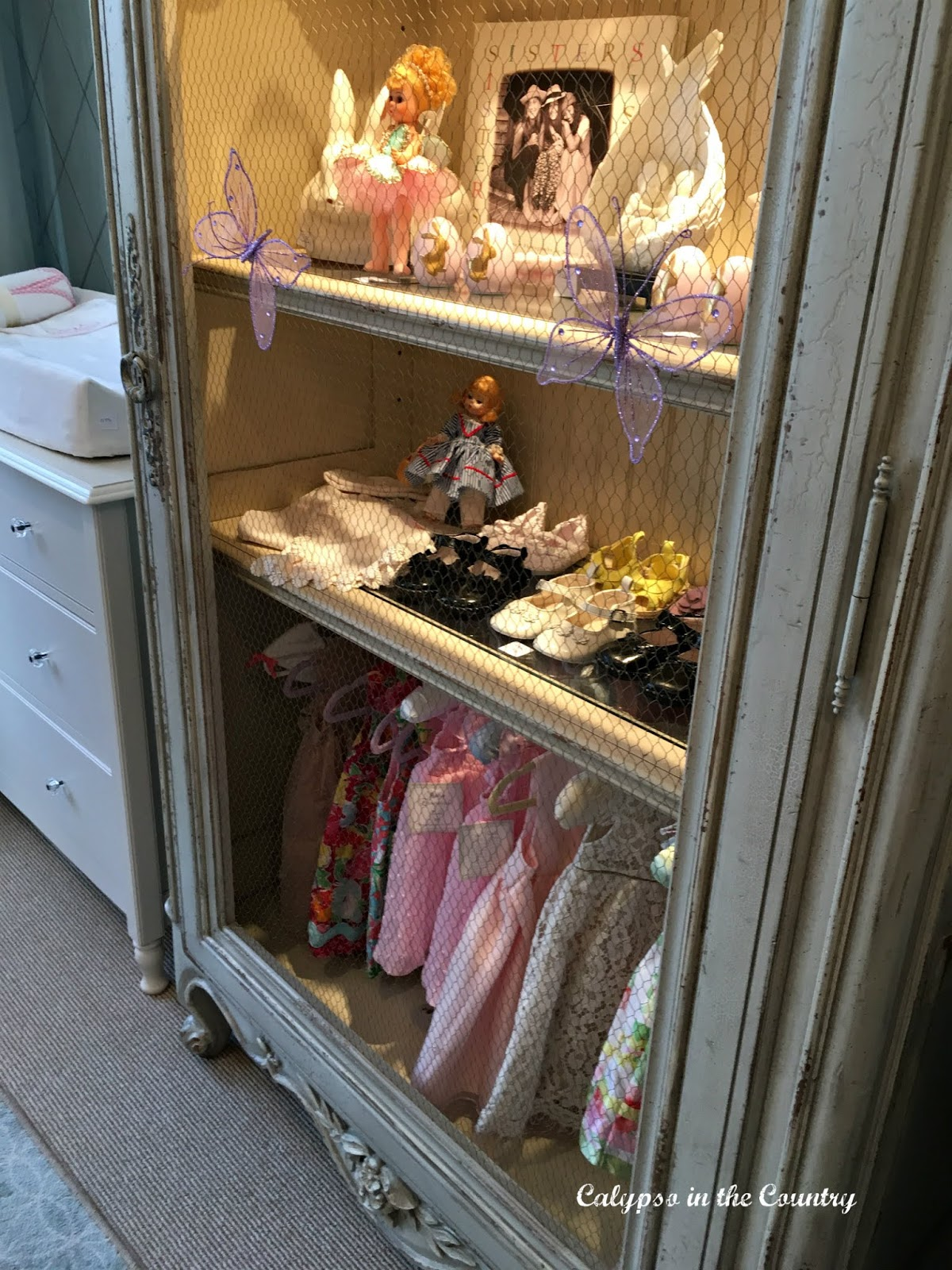 decorative closet in a nursery for girls
