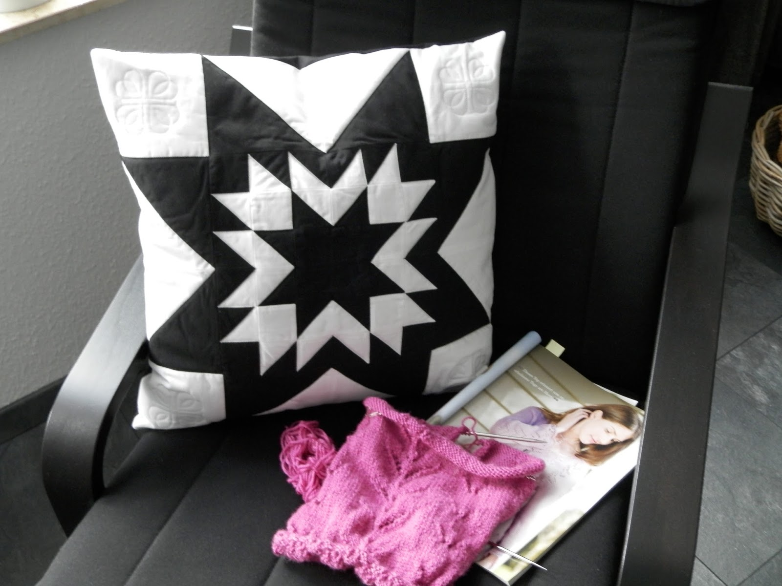 retro frischling half square triangle pillow. Black Bedroom Furniture Sets. Home Design Ideas
