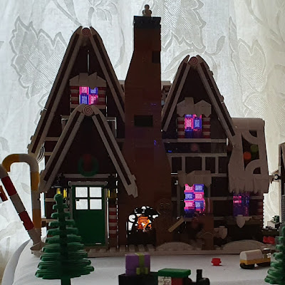 LEGO Gingerbread House with light through windows