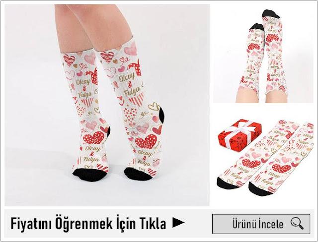 Sevgililere Özel İsimli Çorap
