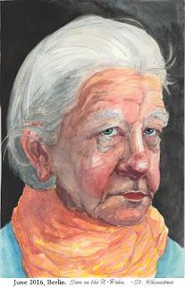 Watercolor sketch of a woman by Ciana Pullen / St. Rhinocéros