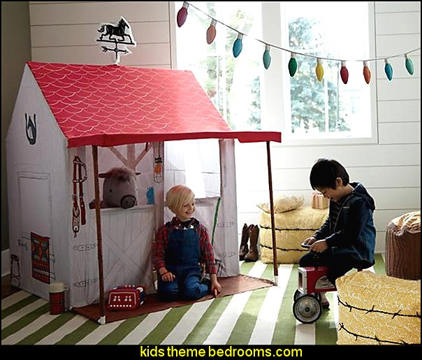 Horse Stable Playhouse  Farm theme bedroom decorating ideas - horse theme bedroom decorating ideas - girls horse theme bedrooms - farm animals decor - Country themed bedroom - John Deere decor - John Deere bed - John Deere wall decals - Barnyard Bedroom Theme - Farm themed wall decals - farm animals kids wall decor - tractor beds