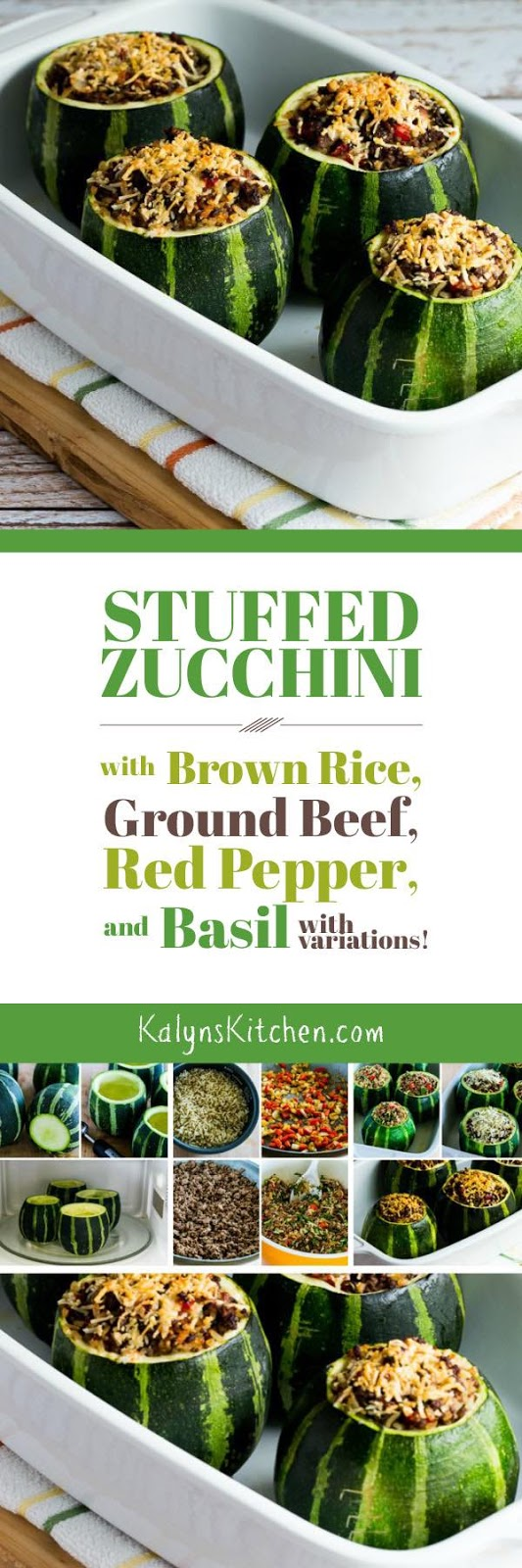 Stuffed Zucchini with Brown Rice, Ground Beef, Red Pepper, and Basil ...