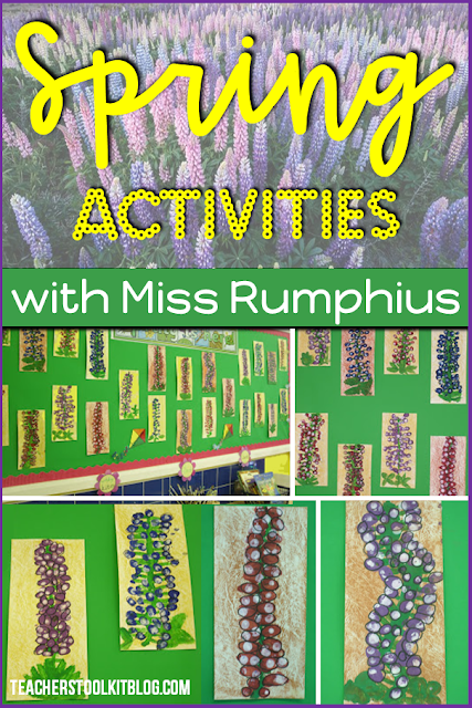 Image of lupines and thumbprint art work by first graders