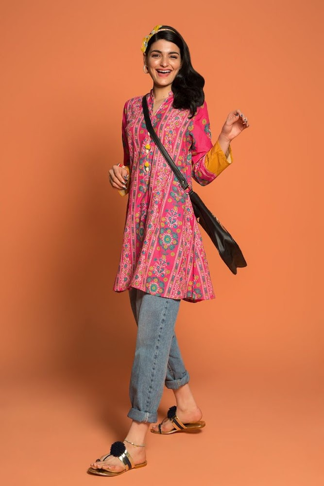 Khaadi Pink Printed Kurta