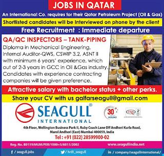 QA QC Inspectors Tank Piping jobs in Qatar