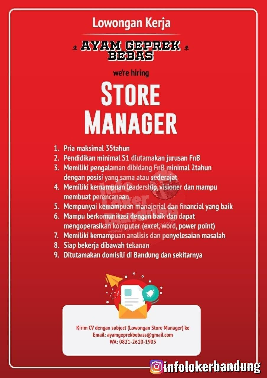 Lowongan Kerja Store Manager Ayam Geprek Bebas Bandung Januari 2020