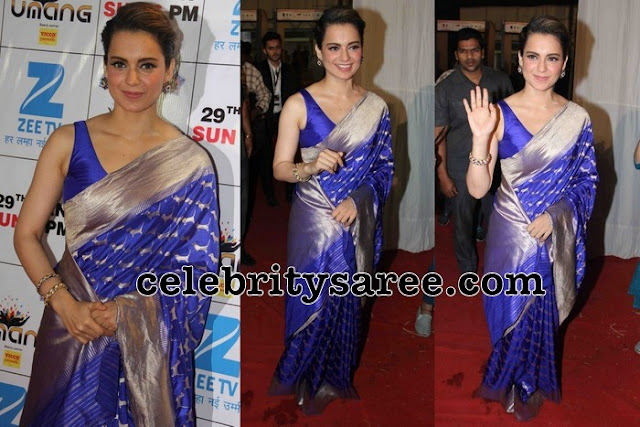 Kangana Ranaut in Blue Silk Saree
