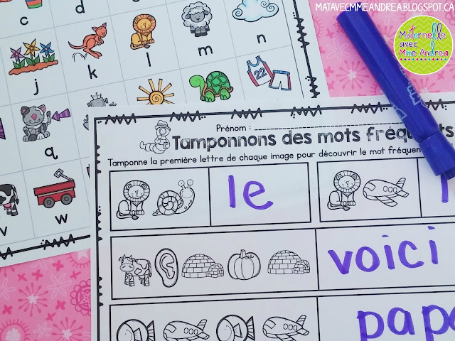 Maternelle avec mme andrea february 2016 if you dont have stamps but want to use this centre you still can just get students to write their sight words with a marker like this sciox Image collections