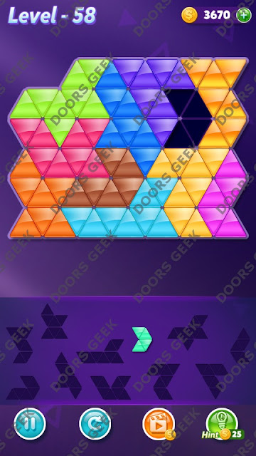 Block! Triangle Puzzle Challenger Level 58 Solution, Cheats, Walkthrough for Android, iPhone, iPad and iPod