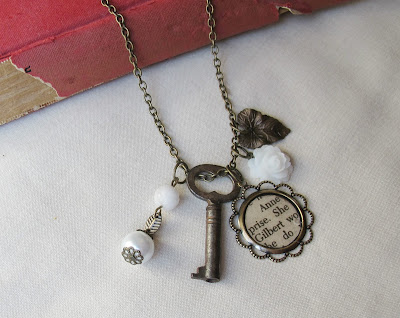 image anne of green gables necklace boho charm anne shirley gilbert blythe two cheeky monkeys skeleton key beaded white