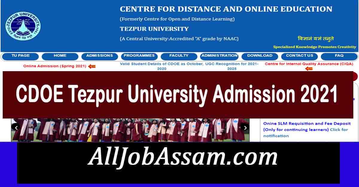 CDOE Tezpur University Admission 2021