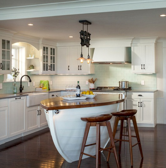 Nautical Boat Shape Kitchen Island