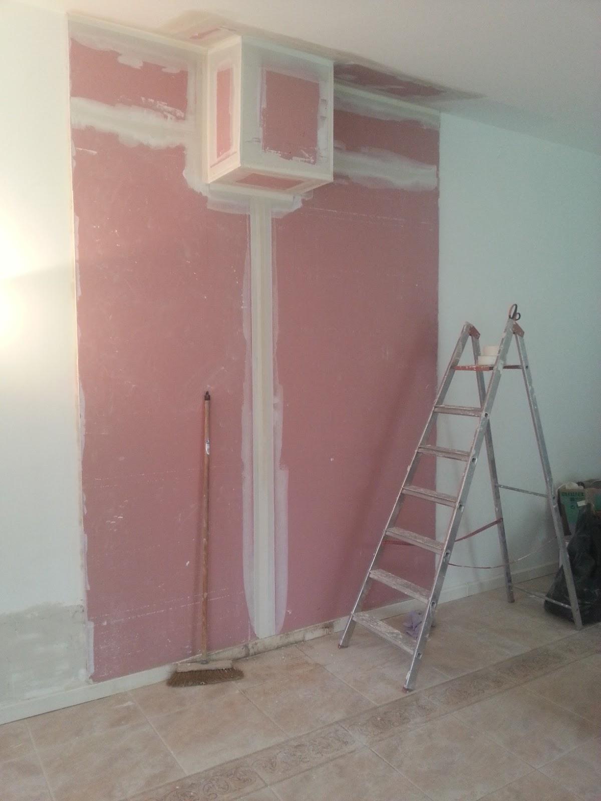 b t s habillage conduit de chemin e mur placoflam joints de placo 3 passes pon age. Black Bedroom Furniture Sets. Home Design Ideas