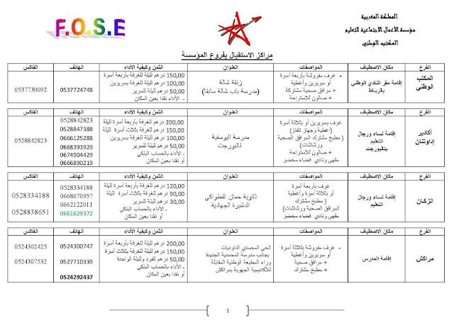 خاص لموظفي وزارة التعليم :هذه بعض عناوين و هواتف واثمنة الإقامات التابعة لمؤسسة الأعمال الاجتماعية للتعليم .