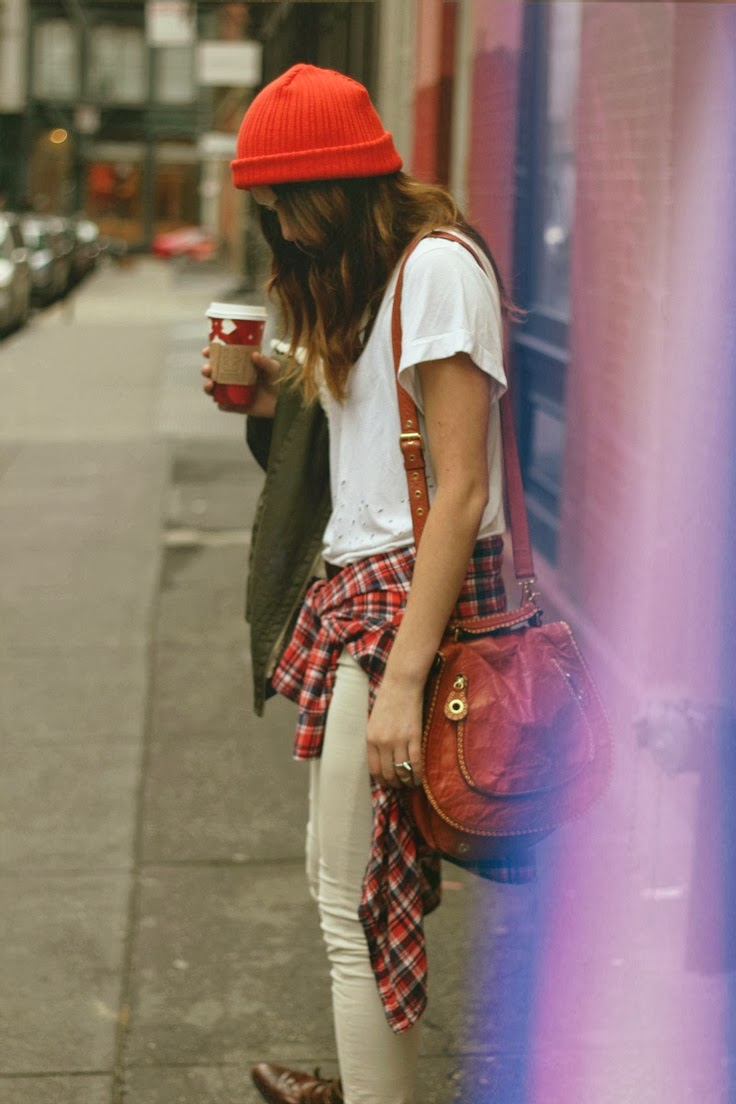 Women's Fashion red beanie + white tee + red plaid + tan skinnies