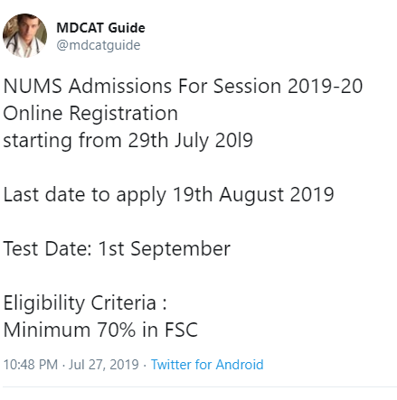 nums nts registration 2019 date