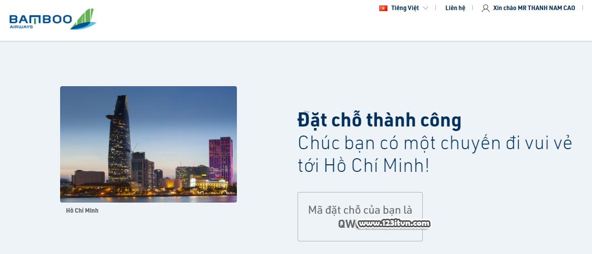 Tự đặt vé máy bay online trên Bamboo Airways