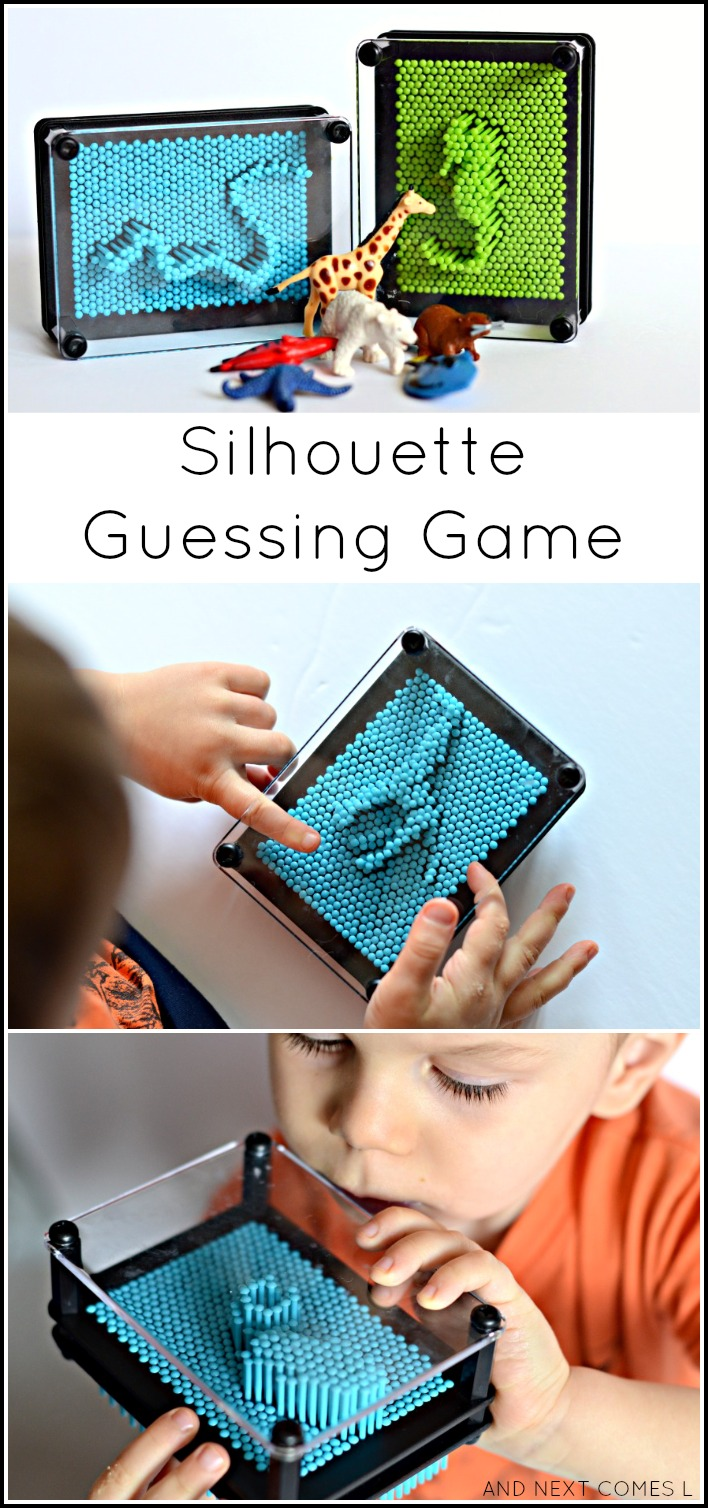 Simple no prep silhouette guessing game for kids from And Next Comes L