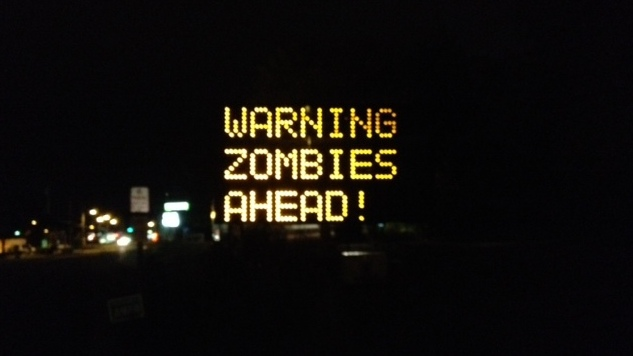 """""""Warning Zombies Ahead!"""" - Road sign board Hacked"""