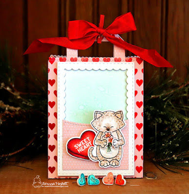 """Newton Sweetheart Gift Bag by Larissa Heskett  """"Sending Hugs"""" Stamp Set   """"Candy Hearts"""" Stamp Set by Newton's Nook Designs  Shrink Plastic Earrings  #handmadejewelry #handmadegifts #giftmadewithlove #sweettreatsbloghop"""