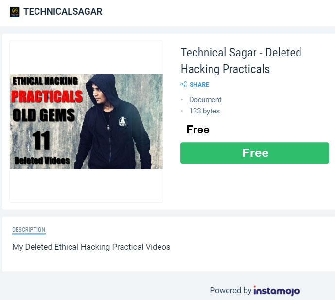 About Technical Sagar :  Technical Sagar, a well-known YouTuber, known mostly for teaching ethical hacking and cybersecurity. Quick Hack Course by Technical Sagar has been released on his youtube channel as you might be knowing.  So, in this post, I am going to share and give a detailed review of his Quick Hack course. Also, I will be sharing the download link below to download Technical Sagar Quick Hack Course.    However, I recommend buying Technical Sagar's hacking Courses from his website or from his Instamojo Store page.    WHO IS TECHNICAL SAGAR?  Technical Sagar actually is a name of a Youtube Channel. The owner of this Youtube Channel is Abhishek Sagar. Abhishek Sagar was born on 28 July 1994 at Dadri in Uttar Pradesh, India.  Abhishek Sagar currently lives in Delhi, India. Also, he has 2 Youtube channels named Technical Sagar and Sagar Ki Vani. He is basically a tech-related person.  Abhishek Sagar likes to teach Ethical Hacking, Cybersecurity and other teach related-stuffs. Also, he has launched 5 courses which include 3 hacking related courses.
