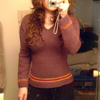 Katie Marcus provides a link on Ravelry for this archived sweater pattern in the Hogwarts uniform style.