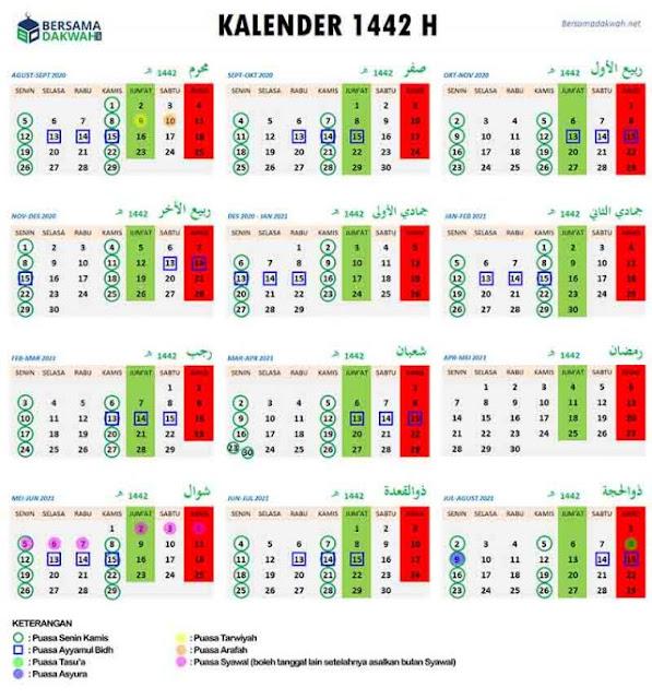 Kalender Islam Tahun 1422 H atau 2021 Masehi