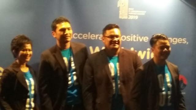 Jajaran manajemen Qlue, yakni Rama Aditnya, AndreHutagalung, Maya Arvin (dok.windhu)