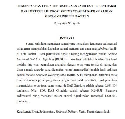Pemanfaatan Citra Penginderaan Jauh untuk Ekstraksi Parameter Laju Erosi-Sedimentasi [PAPER]