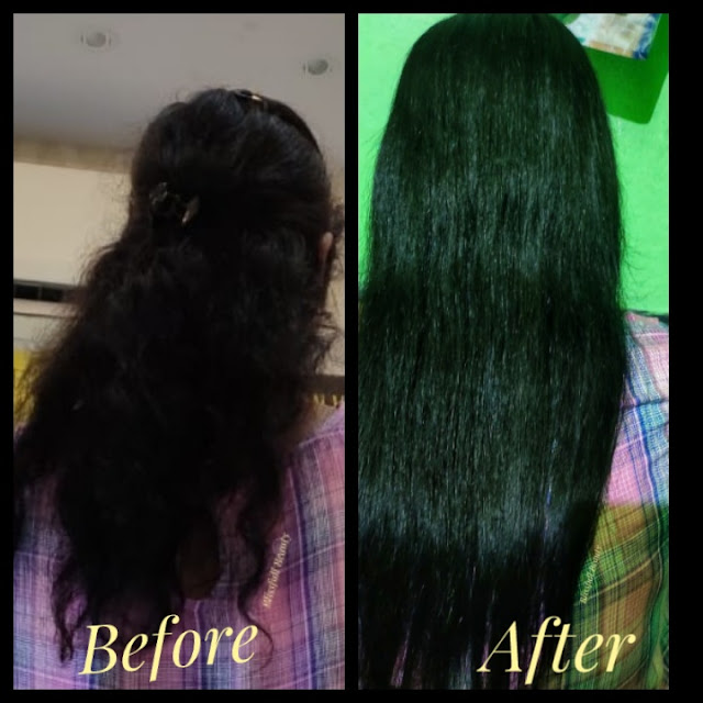 Before and after of Keratin Treatment: