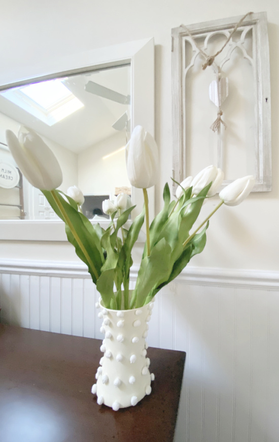 tulips in a chenille dot textured vase