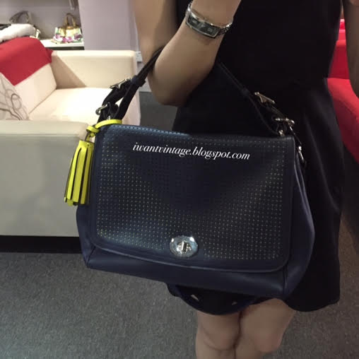 Coach 22386 Legacy Perforated Leather Romy Top Handle Bag-Navy